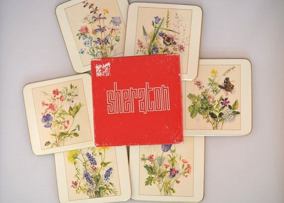 Vintage Six Piece Sheraton Floral Coasters Country by FarahsAttic, $9.00