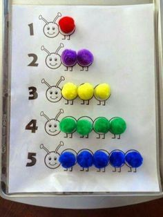 M1.1:  Demonstrate strong sense of counting.  Place color pompom in each circle and count the number of pompoms.