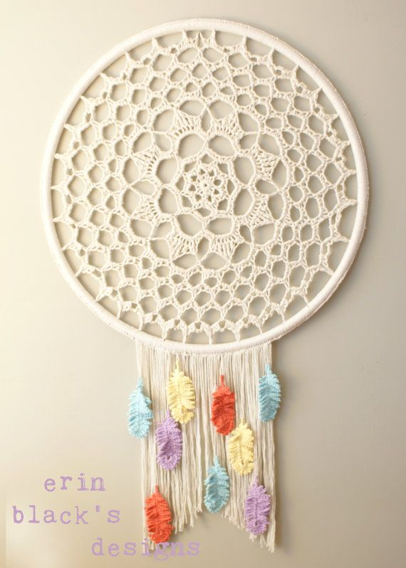 ***Note: This listing is for the Crochet PATTERN in PDF format you will require a .pdf reader program installed on your computer to access the file.*** Make your own super sized Dreamcatcher Inspired Wall Hanging with this crochet pattern. This pattern includes complete instructions for how to make and assemble the wall hanging and crochet patterns for the doily center and the feathers. These written instructions also include photos for pattern clarification making it an easy to follow…