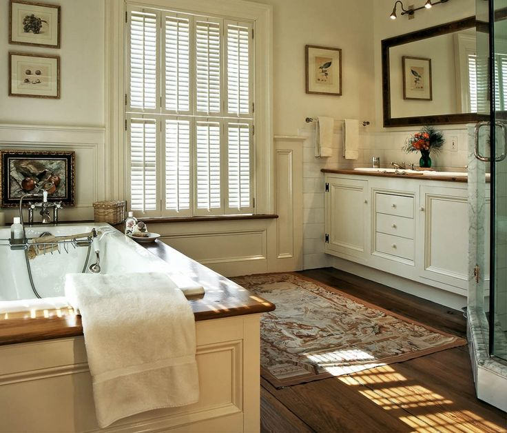 20 beautiful master bathrooms with wood floors