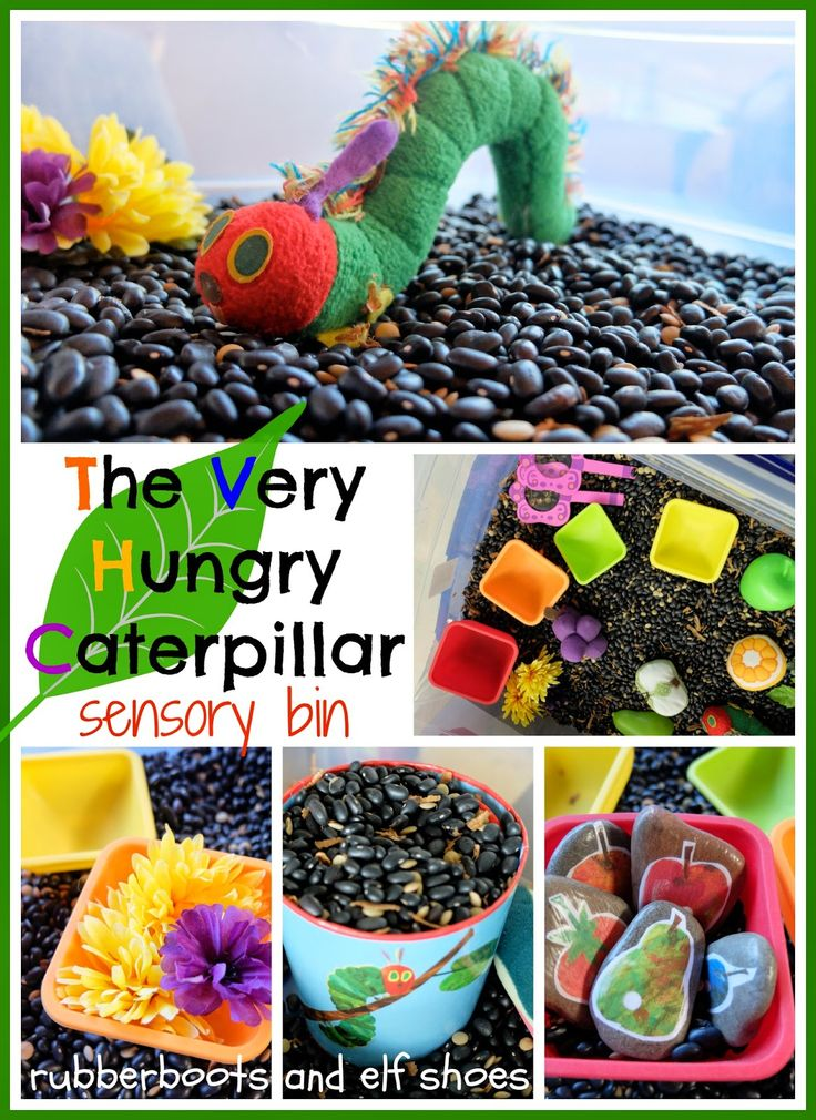 The Very Hungry Caterpillar Sensory Bin! (from Rubber Boots and Elf Shoes)