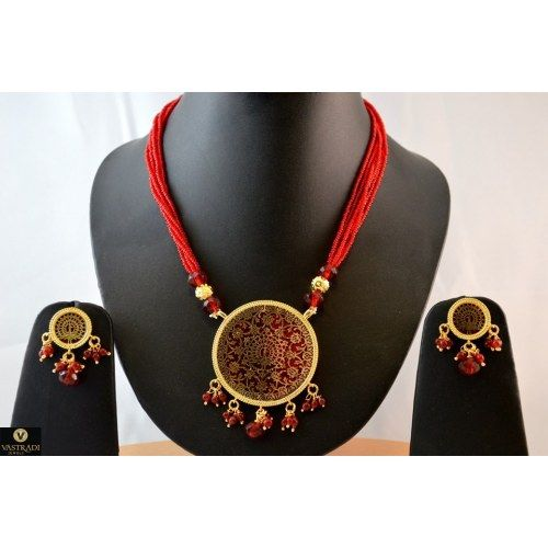 Thewa Necklace Set in Red and Gold - TS11 - Necklaces by Vastradi