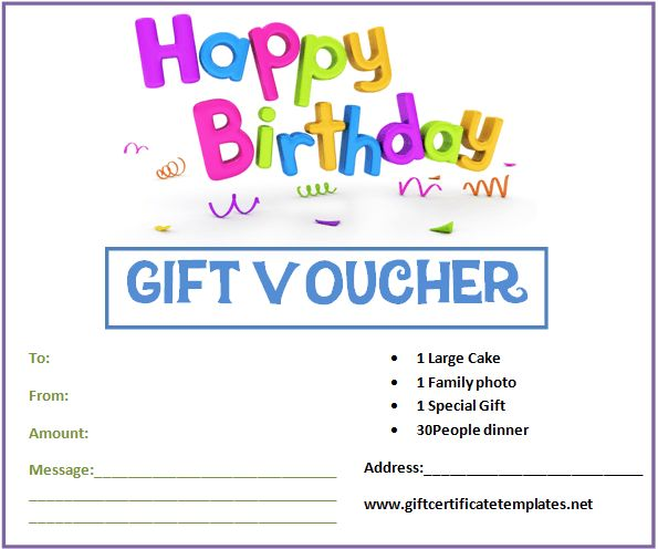 birthday gift certificate templates by