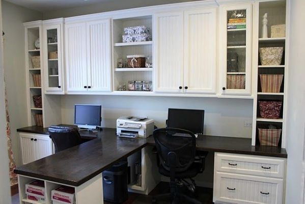 Diy Dual Office Desk Make My Home Office Cabinets Office