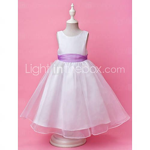[NOK kr. 428] A-line Jewel Floor-length Satin And Organza Flower Girl Dress