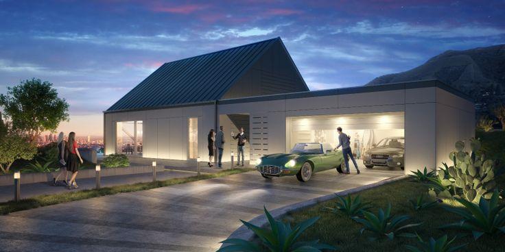 Nowoczesny dom pasywny z garażem.  Źródło zdjęcia: http://domy.procyon.com.pl/images/pic/103/2396/H8%20z2%20people_www_big.jpg