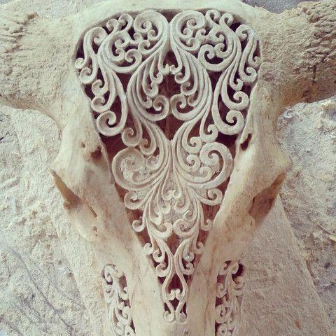 Hand carved Buffalo Skull