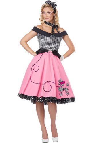 549feb614e Details about Nifty 50 s Grease Poodle Dress Skirt Adult Costume en ...