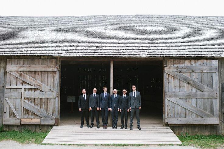 Great shot of the groomsmen at Black Creek Pioneer Village, captured by Celine Kim Photography!