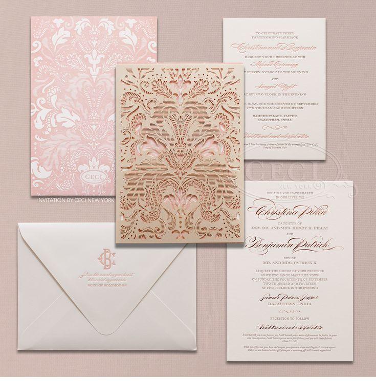 Beautiful Luxury Indian Wedding Invitations Pink Gold