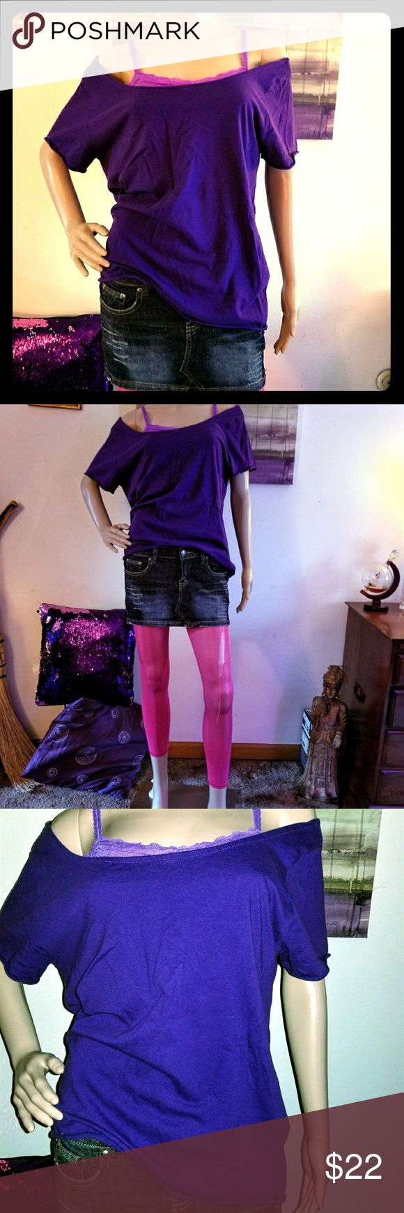 """Off The Shoulder️ 80's Style Raw Hem Tee Shirt NWOT! This awesome royal purple, off the shoulder tee shirt is everything great about the 80's & very on trend. Featuring a raw hem w/ plenty of """"scoop"""" in the neck & shoulders for a One-Shoulder look or pulled off of both! Perfect w/ a Bralette! 100% Cotton w/ longer hem & thin, soft material. Not cropped or too boxy so you can belt it, layer, or wear it w/ leggings. Love this but it's too big for me. True to Size & Perfect Condition. Mannequin…"""