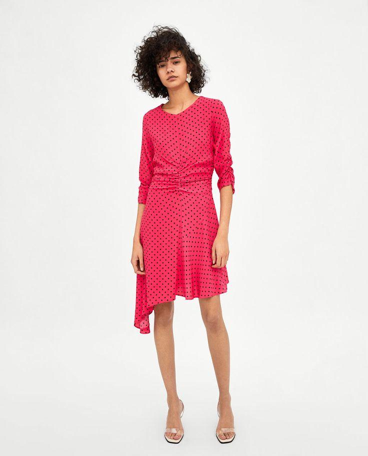 Image 1 of GATHERED POLKA DOT DRESS from Zara