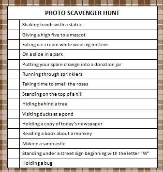 Photo Scavenger Hunt (Free Printable
