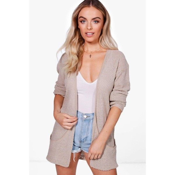 Boohoo Amber Loose Knit Slouchy Pocket Cardigan ($20) ❤ liked on Polyvore featuring tops, cardigans, chunky turtleneck, party tops, animal print cardigan, loose turtleneck and wrap tops