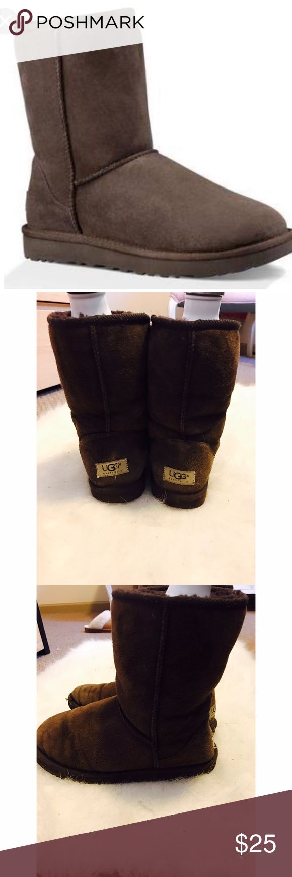 UGGS Classic Short Chocolate Boots UGG Classic short chocolate boots. Used but in okay/ good condition. Contains marks of wear. Price is final UGG Shoes Winter & Rain Boots