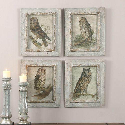 Uttermost Owls Framed Art - Set of 4 - Wall Art at Hayneedle