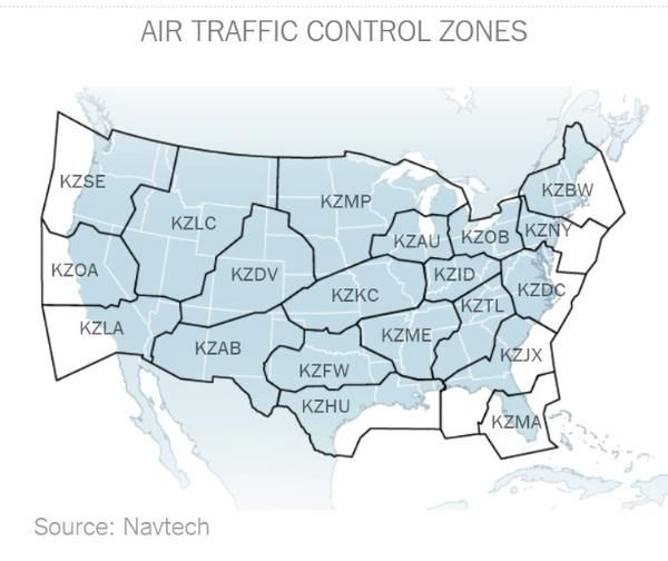US Air Traffic Control Zones
