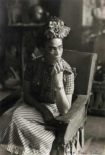 """Frida Kahlo  NOTE:  People I am inspired by, Frida Kahlo.  I too am disabled from 3 spinal surgeries in 2004 which changed my life completely. """"I am not sick, I am broken. But I am happy as long as,I can paint."""" -Frida.  This too is how I feel <3"""
