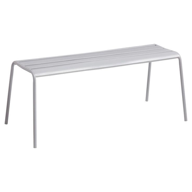 Eenvoudige bank van grijs metaal. 50x109x45 cm (lxbxh). #tuin #tuinbank #LenteKwantum