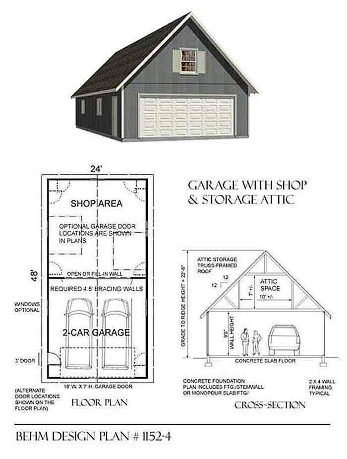 Not only does this garage plan have huge double depth but a wonderfully large attic all the way through. You can use as 2 car garage with shop  or even a 4 car garage, still with lots of big attic space for all the extra stuff. Plan No. 1152-4 by Behm Design
