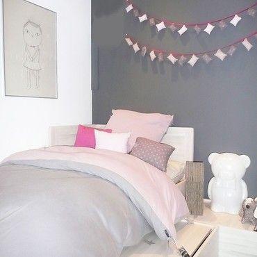 chambreadoenfantrosegris housse de couette bi color jacknaquunoeil - Chambre Vieux Rose Et Gris