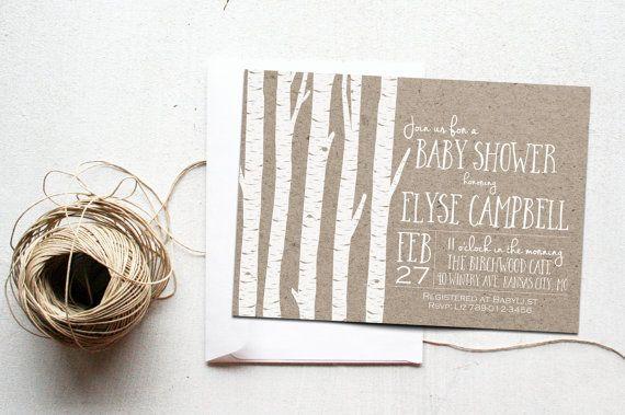 Winter Baby Shower Invitation Printable, Birch Wood Tree Woodland December Holiday Invite, Rustic Invitations, Gender Neutral, Bridal Shower