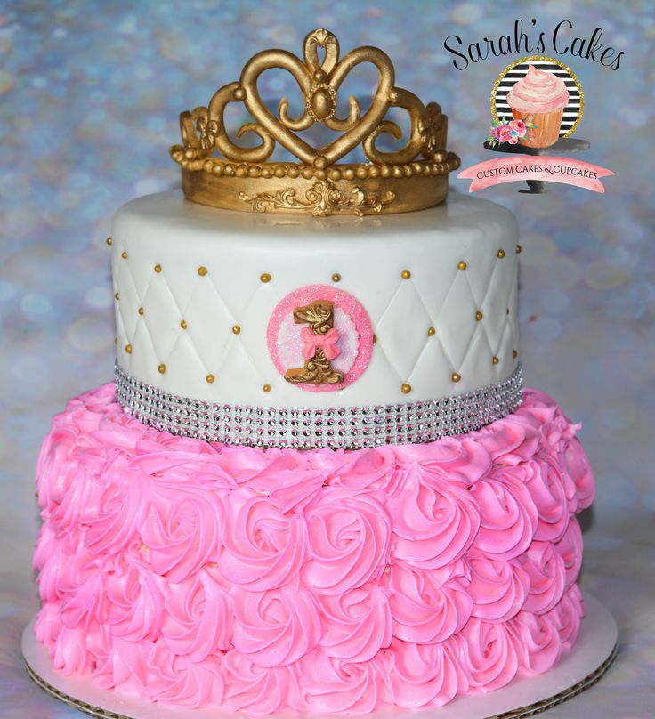Pink Princess  Cake With Pink Buttercream Rosettes
