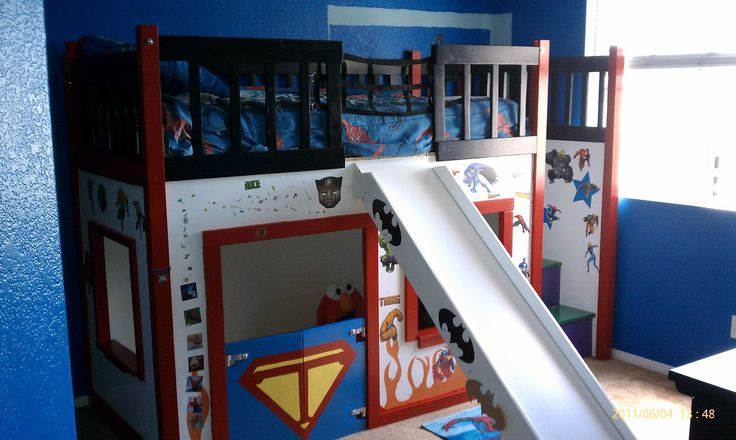 loft bed with fort underneath and a slide!