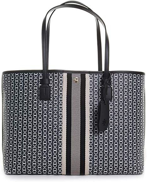 4a5cd7736d3 Amazon.com: Tory Burch Gemini Link Canvas Black Large Tote Handbag: Clothing