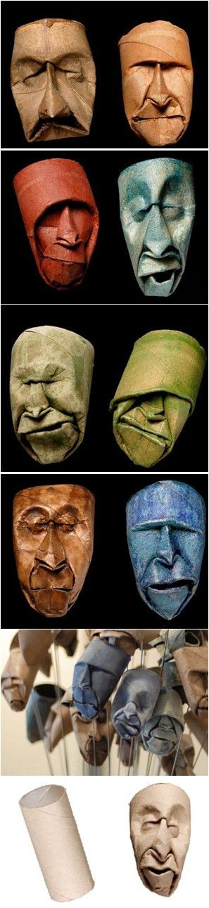 Hand-sculpted masks from toilet paper rolls by Junior Fritz Jacquet.