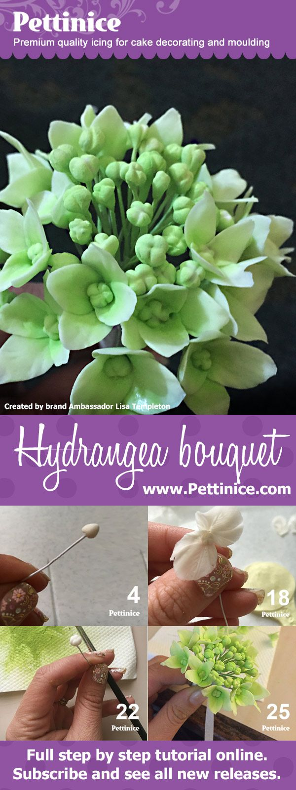 736 best sugar flowers and tutorials images on pinterest sugar learn to make a sweet hydrangea sugar flower bouquet with lisa templeton of lm cake design izmirmasajfo Images