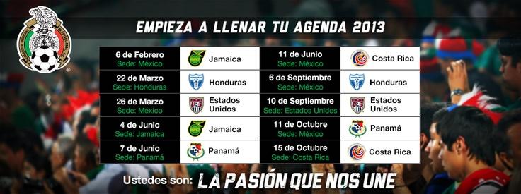 Calendario Oficial del Hexagonal Final Rumbo a Brasil 2014