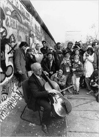 1991. The Collapse of the Berlin Wall. Rostropovitch playing his cello