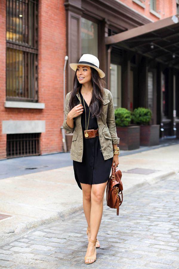 The Perfect Shirtdress - Eileen Fisher shirtdress // Vintage belt Banana Republic jacket // Dolce Vita heels Panama hat // Julie Vos necklace // Proenza Schouler bag Friday, June 5, 2015