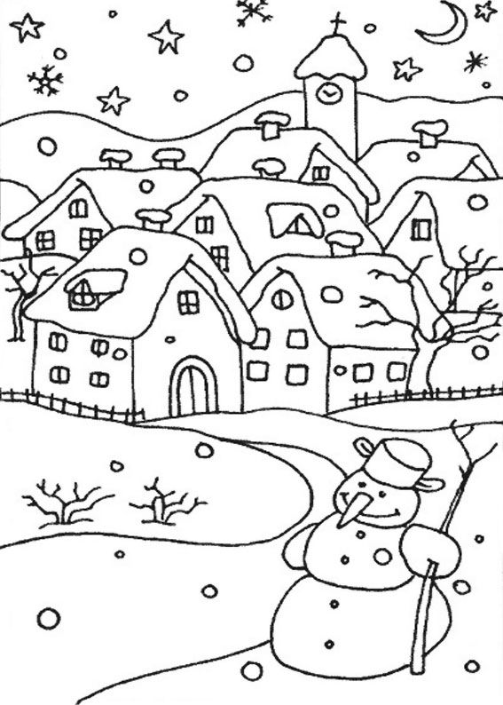 21 Disegni di Paesaggi Invernali da Colorare  Scuola  Disegni di paesaggi Disegni e Disegni