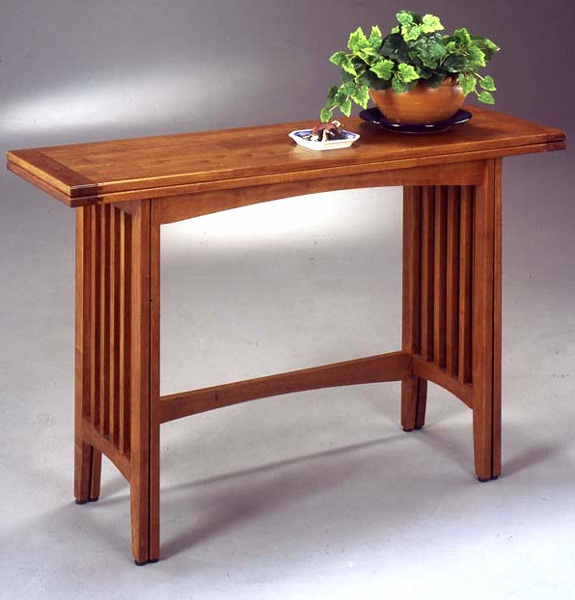 wooden console table w expanding top
