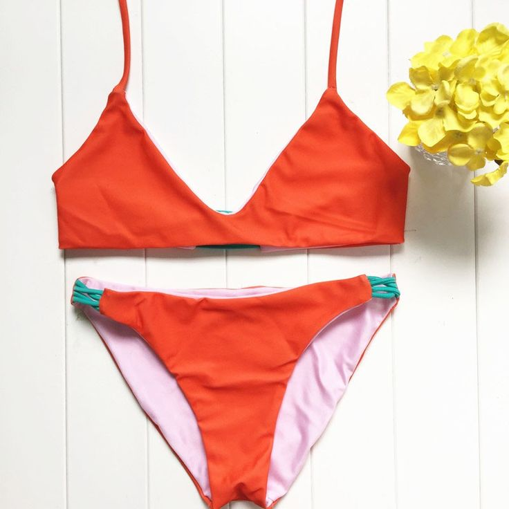 New Swimwear 2016 Sexy Women Swimsuit Orange Straps Padded Micro Bikini Set Bathsuit Beachwear Triangle Biquini Maillot De Bain $6.89