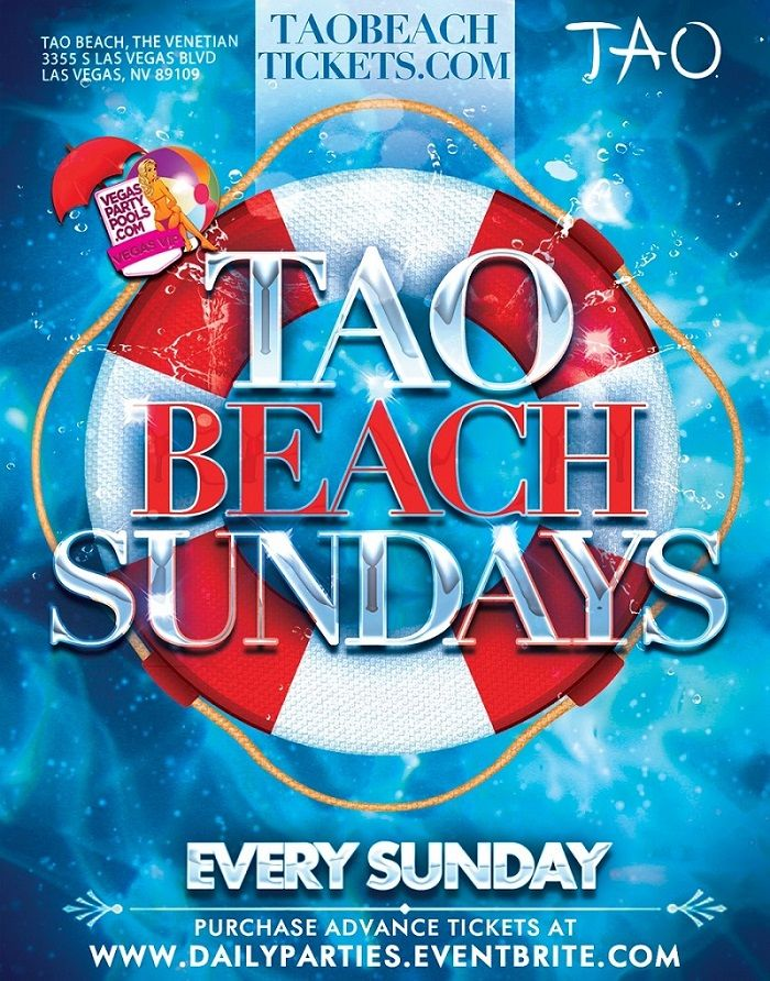 For some fun in the sun, as well as in the shade, Tao Beach is one of Sin City's top destinations for Daylife. Get Vegas VIP at Tao Beach and skip the lines with our guest list and exclusive VIP presale tickets, online at www.dailyparties.eventbrite.com, or call (310-749-9029). Enjoy the hottest waitresses in this intimate Daylife pool and day club, TAO Beach.