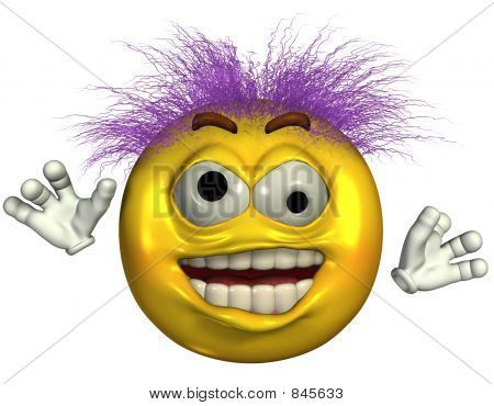Wild and crazy emoticon - 3D render. Picture - Royalty Free Stock ...