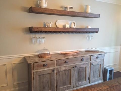 Charming DIY Floating Shelves With Wine Glass Storage Over Buffet In Dining Room