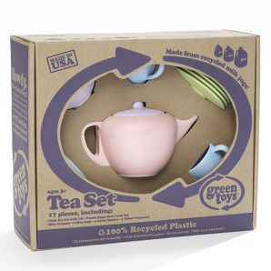 Green toys tea set in recycled packaging