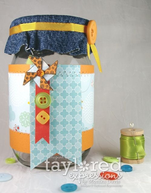 Upcycled Sewing Jar by Monika Davis #UpcycledProject, #GiftGiving