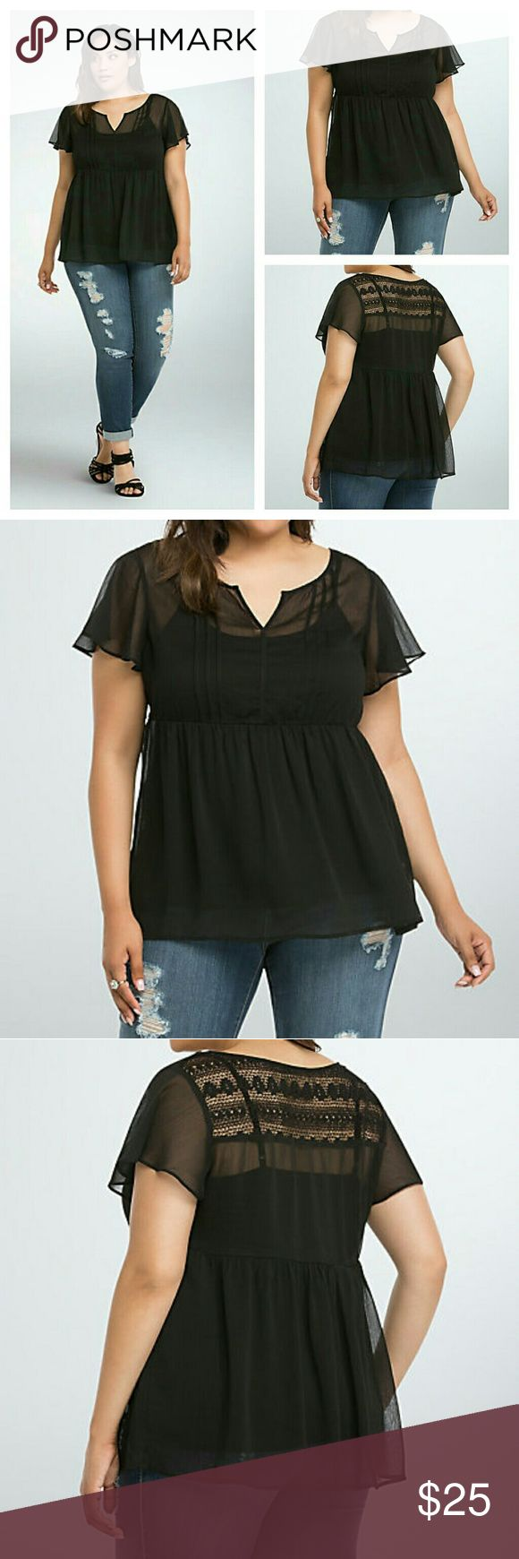 Torrid Chiffon Lace Inset Top shirt sheer 0x L 12 *Cami undershirt not included*   With this top, black is no longer just for Friday. The black chiffon is sheer sexiness, and fly-away-worthy with flutter sleeves and a billowy empire cut. A lace inset trimming the back gives you another excuse to show off some skin.  ?  Polyester; lace: cotton/rayonHand wash cold, dry flatImported plus size top torrid Tops