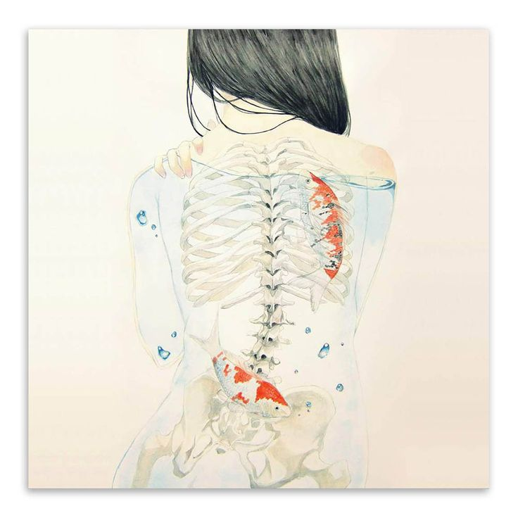 Watercolor Japanese Sexy Naked Girl with Exposed Skeleton and Coy Fish, Bold Fish Art