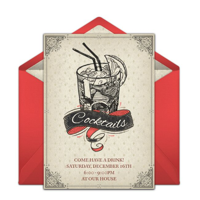 Customizable, free Vintage Christmas Cocktails online invitations. Easy to personalize and send for a Cocktail Party. #punchbowl