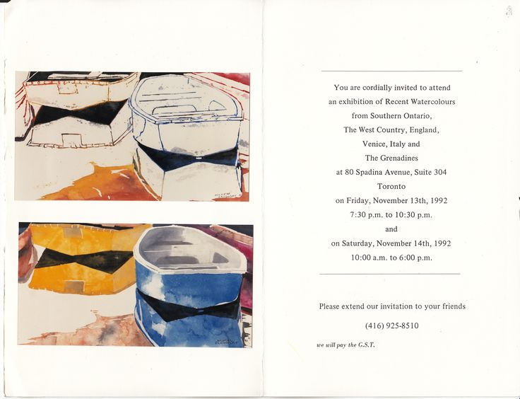 zarowsky boat paintings from england 80 spadina suite 304 toronto  1992