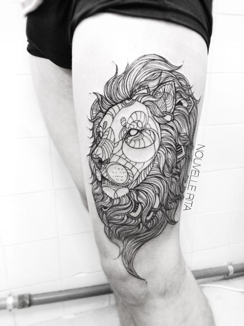 First tattoo, geometric lion done by nouvelle rita, lisbon