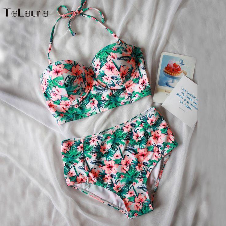 Cheap xxl women, Buy Quality xxl sexy directly from China xxl m Suppliers: Sexy Floral Print High Waist Swimsuit 2017 Bikini Push Up Swimwear Women Vintage Biquini Bathing Suit  Maillot de Bain Femme XXL