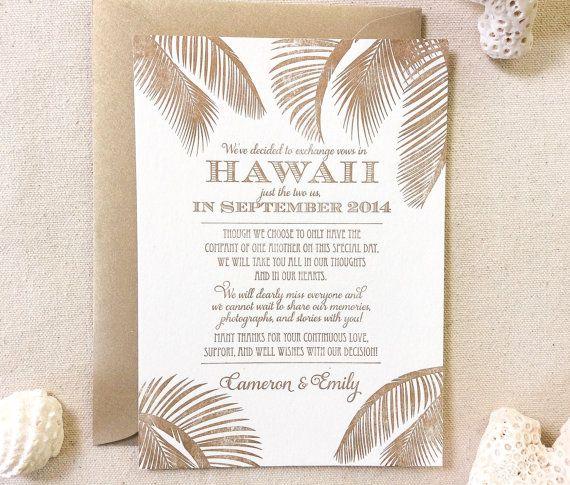The Leilani Suite - Letterpress  Elopement Announcement - Sample, Hawaii, Destination Wedding, Classic, Nautical, Beach, Palm Trees, Florida
