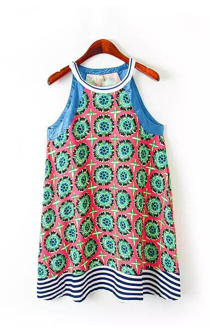 Love this mix of fabrics and colors! A-line Printed Halterneck Beach dress